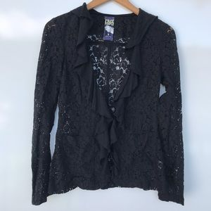 Free People Black Lace Ruffle Cardigan Sz 6